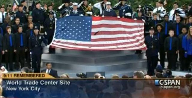 World Trade Ceremony Sept 11 2011 Flag