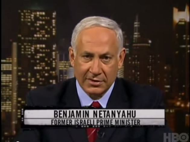 Screenshot of Netanyahu on Bill Maher Show from HBO
