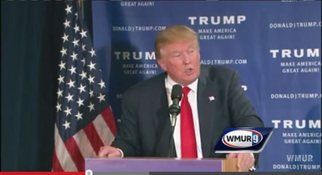 Screen capture of Donald Trump in New Hampshire July 16, 2015